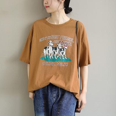 純棉復七分袖套頭T恤 圓領卡通印花上衣/3色-夢想家-0325