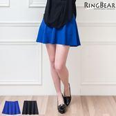 短裙--氣質時尚百搭修身素面波浪高腰小短裙(黑.藍XL-4L)-Q62眼圈熊中大尺碼