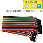 40Pin彩虹排線 + 雙頭杜邦端子 公頭 - 母頭( 線長30公分 )