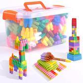 兒童塑料拼插子彈頭積木幼兒園1寶寶2男女孩4益智拼裝玩具3-6周歲