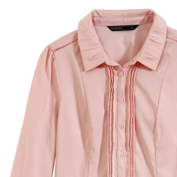 【MASTINA】素面壓折襯衫-粉 0612