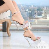 14CM水晶涼鞋女細跟情趣透明防水臺偽娘變裝反串cd大碼超高跟鞋 千千女鞋