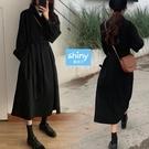【V3210】shiny藍格子-韓系恬靜.翻領前排釦綁帶收腰長袖洋裝