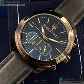 MASERATI瑪莎拉蒂男女通用錶46mm寶藍色錶面咖啡色錶帶