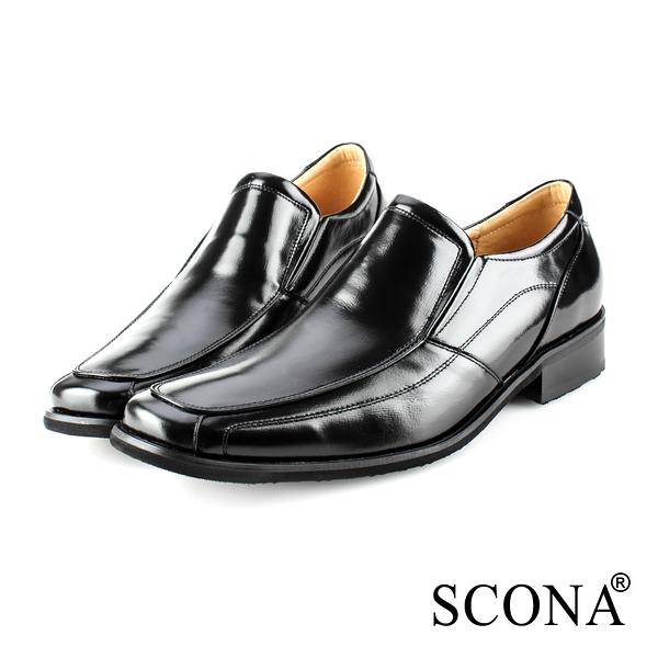 SCONA 蘇格南 全真皮 經典素面套式紳士鞋 黑色 0864-1