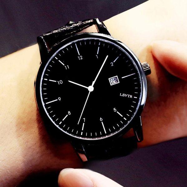 手錶女學生韓版日曆大錶盤男錶皮帶女錶 情侶手錶一對 生日禮物