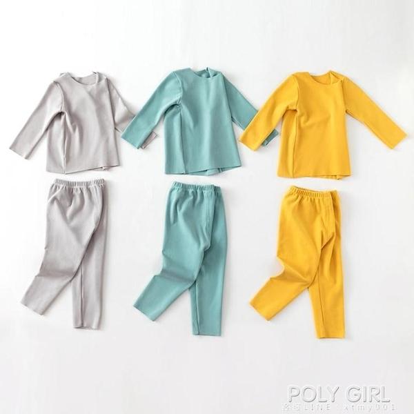 兒童保暖內衣套裝德加絨發熱秋冬男童女童加厚無痕睡衣寶寶秋衣褲 poly girl