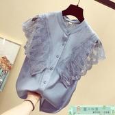 無袖襯衫 雪紡襯衫短袖女年夏季蕾絲很仙上衣服洋氣襯衣超仙小衫潮 麗人印象 免運
