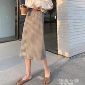 A7seven格子裙女春夏裝新款開叉A字韓版高腰寬鬆顯瘦中長款半身裙 海角七號