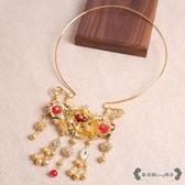 瓔珞項圈 復古金色漢服古典項鍊新娘古裝日常結婚配飾品 - 雙十一熱銷