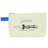【日本進口正版】史努比 Snoopy 奔跑款 帆布 扁型 筆袋 鉛筆盒 收納袋 PEANUTS - 830965