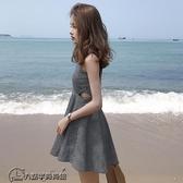 夏季  修身顯瘦高腰百搭格子拉鏈吊帶無袖洋裝 連身裙 學生短裙女