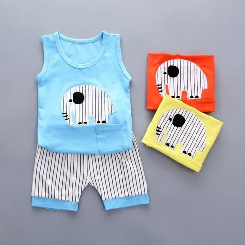 嬰兒短袖套裝 大象卡通 背心+條紋短褲 寶寶童裝 CK11203 好娃娃