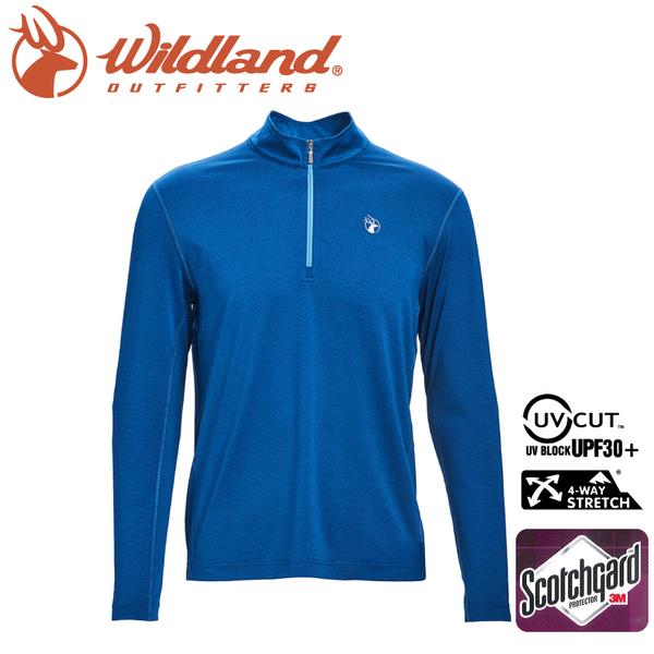 【Wildland 荒野 男 彈性抗UV拉鍊長袖上衣《土耳其藍》】0A71638/半領襟/運動衣/吸濕排汗/登山/防曬
