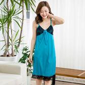 夏日狂想曲性感冰絲睡衣洋裝(藍色)