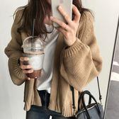 ZUCAS~(GU-8725)V領泡泡袖長袖針織開衫外套罩衫外套