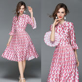 【韓國KW-歐美風】(預購)   L~2XL俏皮印象韓妞輕雪紡洋裝