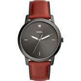 FOSSIL Minimalist 薄型簡約手錶-灰x棕色/44mm FS5479