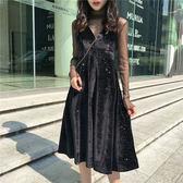 春季港風chic薄款高領網紗打底衫 V領純色絲絨吊帶連身裙 套裝女  巴黎街頭
