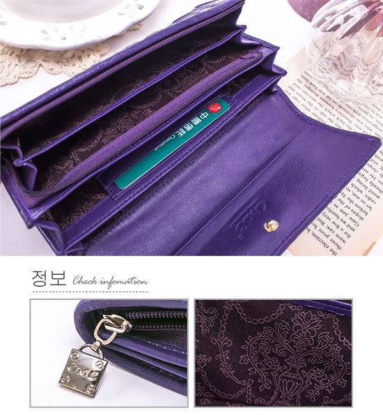 OMC - 專櫃立體抓皺感多卡零錢式真皮長夾-時尚紫