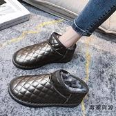 防水保暖雪地靴女皮毛一體短筒短靴加絨加厚面包棉鞋【毒家貨源】