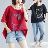 胖女人遮肚顯瘦短袖200斤胖mm夏季大碼女裝寬松韓版印花棉麻t恤衫