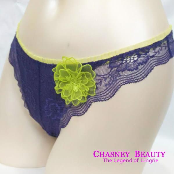 Chasney Beauty-craft山茶花S-M蕾絲丁褲(藍.紫)