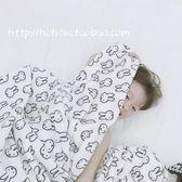 ins風黑白兔子法蘭絨珊瑚絨空調毯子休閑午睡可愛卡通小毛毯     艾維朵