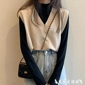熱賣毛衣背心 外穿年新款V領冬季外搭秋冬短款無袖毛衣針織馬甲背心外套女 艾家