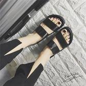拖鞋學生厚底拖鞋女夏原宿風復古防滑雙帶室外平底涼拖鞋晶彩