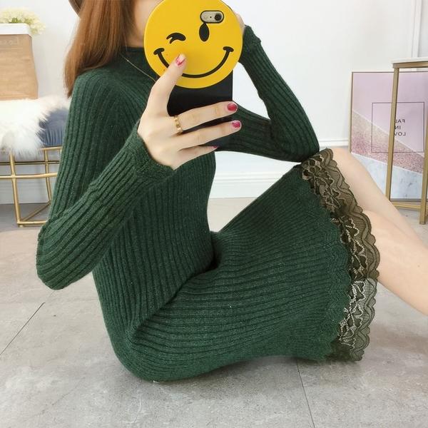 8折免運 長袖洋裝 外套秋冬季毛衣女套頭中長版打底衫長袖修身顯瘦正韓毛衣裙潮
