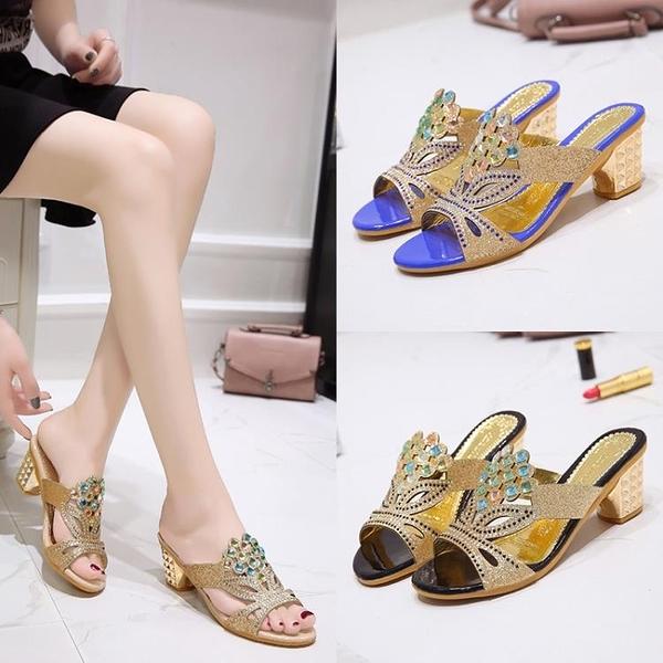快速出貨 涼拖鞋 女夏季 外穿時尚中跟坡跟水鉆韓版百搭網紅粗跟媽媽鞋 涼鞋