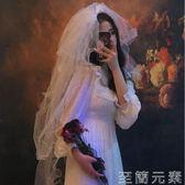 頭紗多層蓬蓬新娘蝴蝶頭紗結簡約復古婚紗頭紗短款超仙頭紗 至簡元素