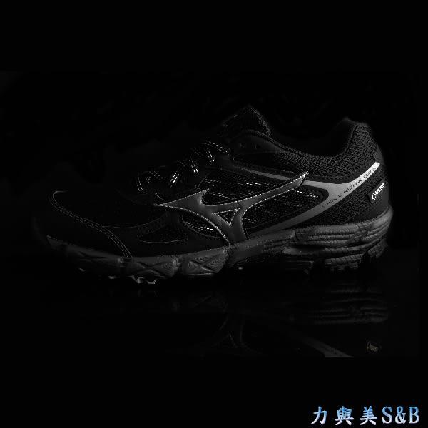 【GORE-TEX】MIZUNO 女慢跑鞋 鞋面防水設計 透氣性佳 全黑色 學生鞋 【1171】