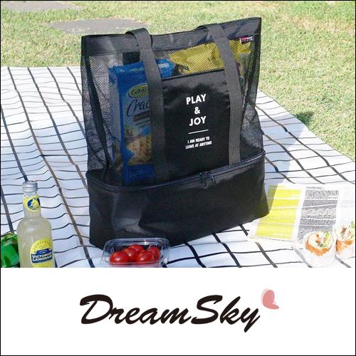 手提 單肩 保溫包袋 雙層 野餐包 男女 運動 網格 收纳包 收纳袋 冰袋 購物袋 PLAYJOY Dreamsky