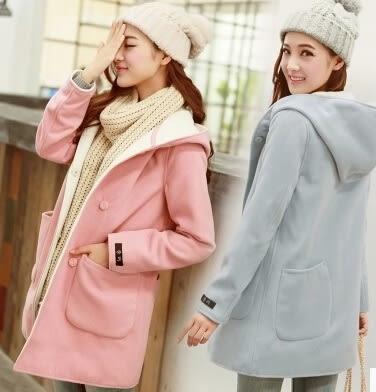 【AU03】秋冬女裝韓版學生羊毛呢外套連帽甜美中長款大衣修身加厚
