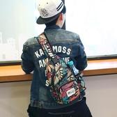 胸包男士韓版潮流胸前斜挎包休閒帆布男包單肩包腰包運動小背包包 居享優品