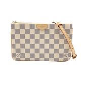 【台中米蘭站】全新品 Louis Vuitton Double Zip Pochette 雙層拉鍊手拿斜背包(N60460-白)