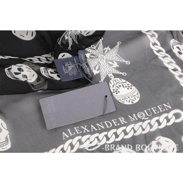 Alexander McQueen Skull 骷髏鍊飾印花絲質披肩(黑色) 1620569-01