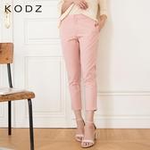 東京著衣【KODZ】俐落知性素面皺褶感紋理直筒褲-S.M.L(6019977)