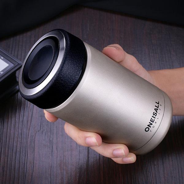 男士不鏽鋼保溫杯戶外便攜車載水杯子辦公室商務茶隔泡茶直身杯
