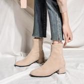 襪靴靴子女秋款中跟粗跟方頭網紅瘦瘦靴彈力襪靴女短筒冬季短靴女 韓國時尚週