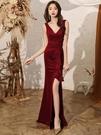 禮服年會晚禮服長款高端氣質魚尾無袖氣場女王平時可穿修身顯瘦連衣裙 優拓
