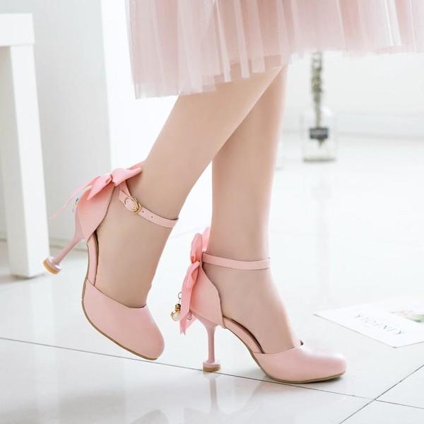中大尺碼女鞋 仙女的鞋夏季新款包頭涼鞋女韓版甜美蝴蝶結一字扣高跟鞋大碼小碼