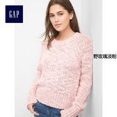 Gap女裝 舒適厚實插肩袖長袖圓領針織衫 199522-野玫瑰淡粉