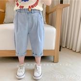 棉小班童裝男童夏裝牛仔褲新款韓版個性褲子兒童休閒軟七分褲