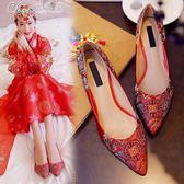 婚禮鞋 中式結婚鞋子婚禮鞋平底孕婦紅色紅鞋高跟新娘鞋「七色堇」