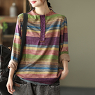 6%羊絨長袖針織衫 彩色條紋拼接套頭毛衣/3色-夢想家-0922