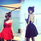 正韓時尚性感甜美沙灘露交叉背系帶甜美性感洋裝連身裙女 森雅誠品