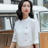 立領純色個性五分袖襯衫上衣[9S117-PF]小三衣藏